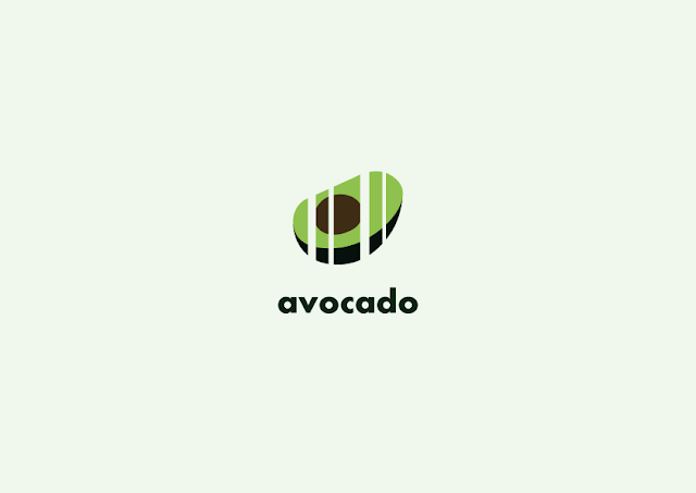 Image description: an avocado cut by lines in some parts as if it was a bar code, under it is the word AVOCADO in lowercase. End description