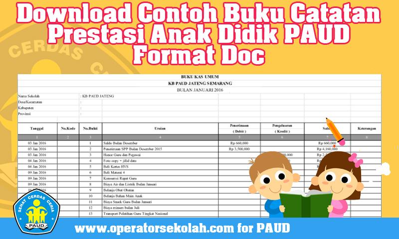 Download Contoh Buku Keuangan Operasional Sekolah PAUD TK KB TPA SPS Format Excel