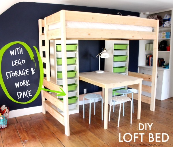 diy loft bed with lego storage and work space