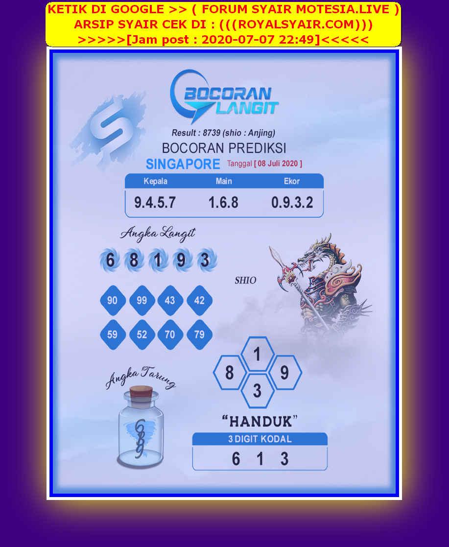 Kode syair Singapore Rabu 8 Juli 2020 202