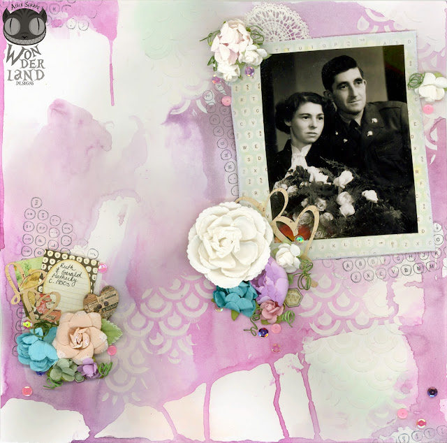The Vintage Wedding Layout that Almost Wasn't:  I made this layout for my Oma and Opa's wedding photo but I  almost didn't make this layout.  After a huge fight with my Oma, I threw the page in the trash.  The next day I fished it out of the trash to finish it.