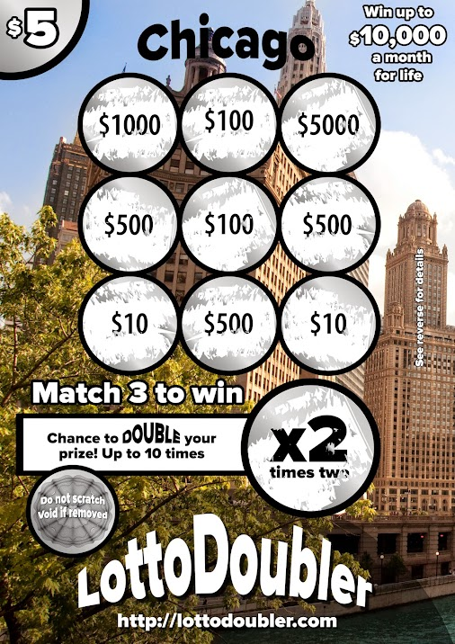 Prototype scratch ticket  |  $5 Chicago  http://lottodoubler.com  http://google.com/+Lottodoubler   ...