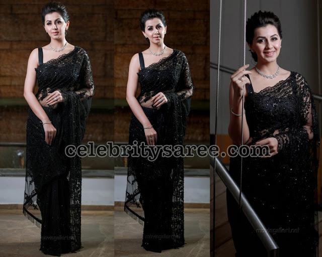Nikki Galrani Designer Black Saree