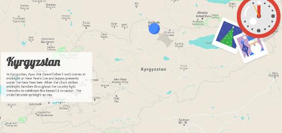 Google Santa Tracker's Traditions interactive feature, describing Kyrgyzstan's version of Santa Claus