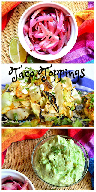 avocado sauce, pickled red onions, grilled cabbage, taco toppings