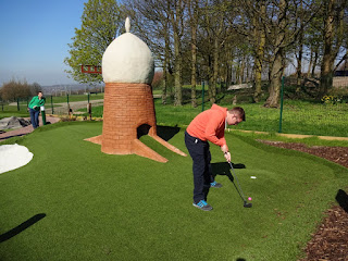 Richard Gottfried playing the Windmill and Plateau hole on the new Adventure Golf course
