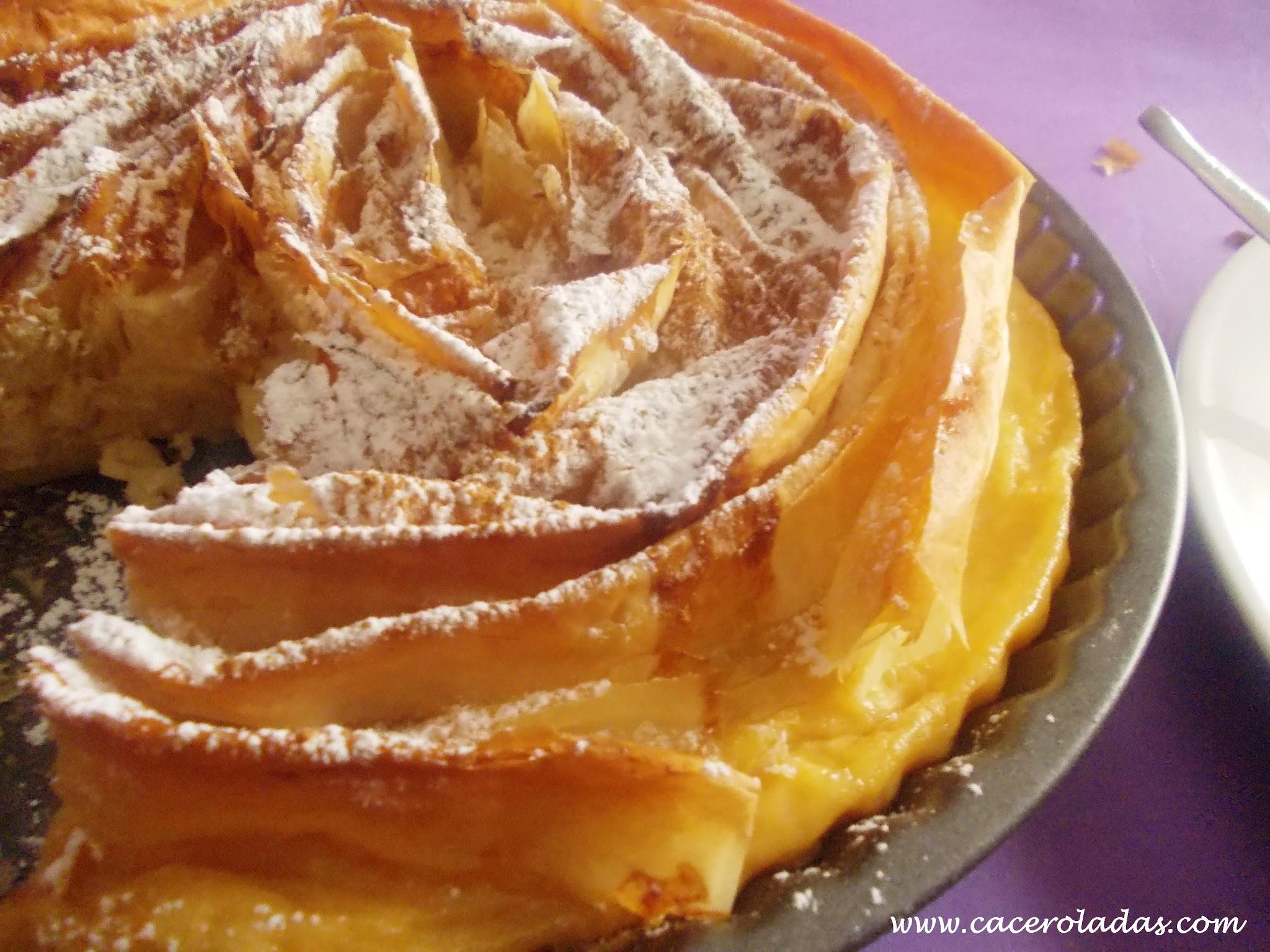 Tarta de pasta filo o ruffled milk pie