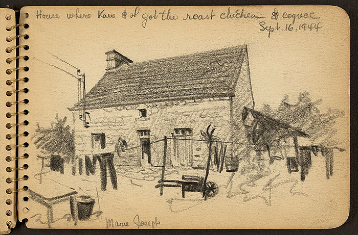 21-Year-Old WWII Soldier's Sketchbooks Show War Through The Eyes Of An Architect - House Where Kane & I Got The Roast Chicken & Cognac