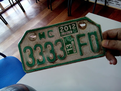 Motorcycle plate number
