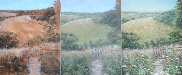 oil painting creation summer hill countryside Davey