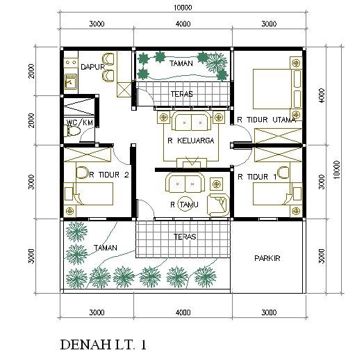 gambar denah rumah minimalis 3 kamar 3
