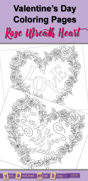 Valentines Day Coloring Pages  Heartshaped Wreath Of Roses Pdf Download