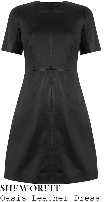 vicky-pattison-oasis-black-leather-a-line-shift-mini-dress