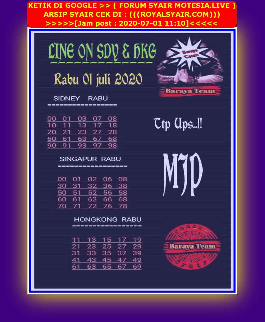 Kode syair Singapore Rabu 1 Juli 2020 189
