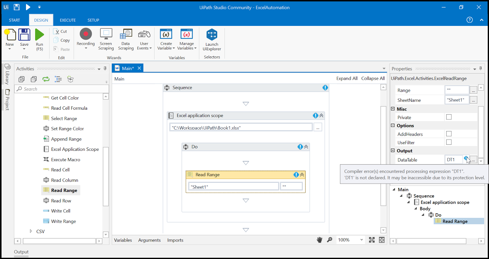 Robotic Process Automation: Excel Automation in UiPath