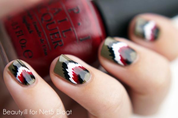 DIY Nail Art Autumn Ikat for Net5 Blogt
