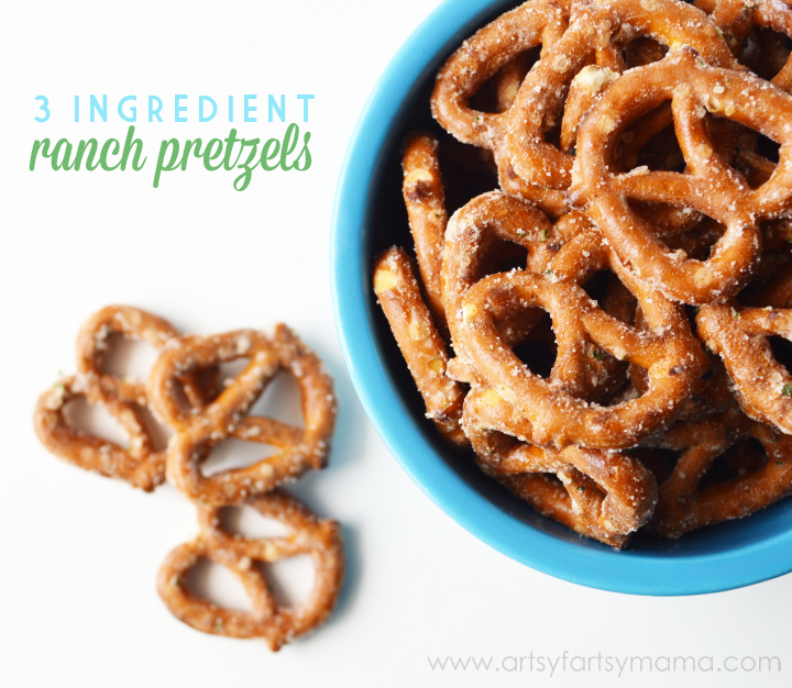Easy 3 Ingredient Ranch Pretzels at artsyfartsymama.com