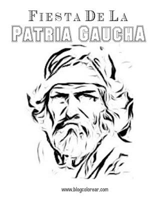 Dibujos para colorear de la Fiesta de la patria Gaucha