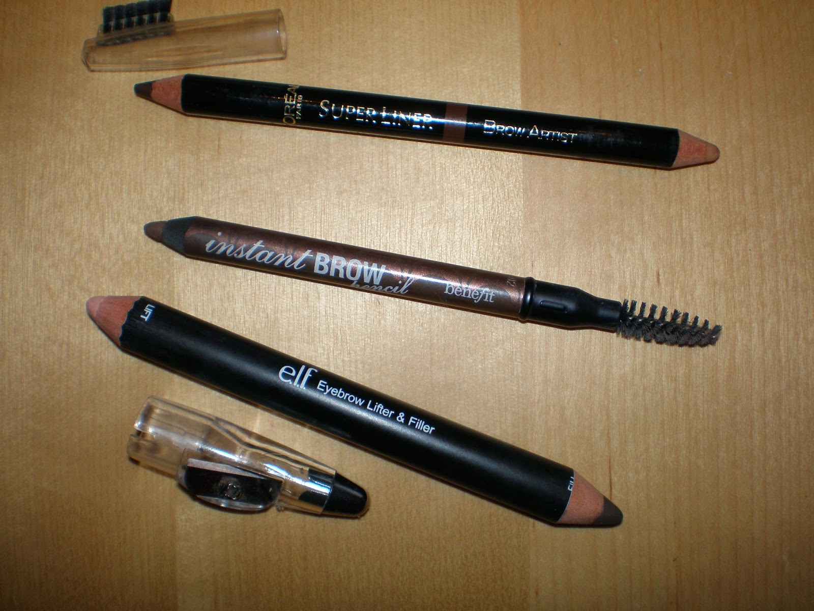 L'oreal Super Liner Brow Artist, Benefit cosmetics instant brow pencil and ELF Eyebrow Lifter & Filler