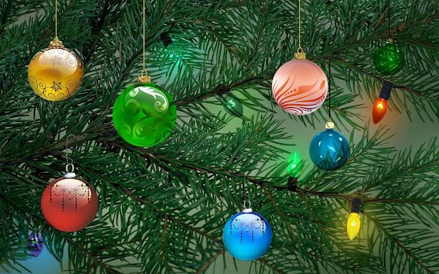 3D kerstboom met kerstballen en kerstverlichting