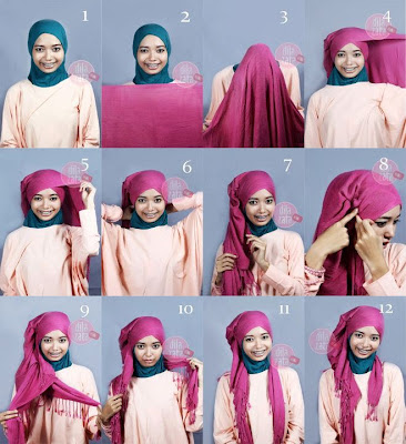 Gambar Cara Memakai Jilbab Modern