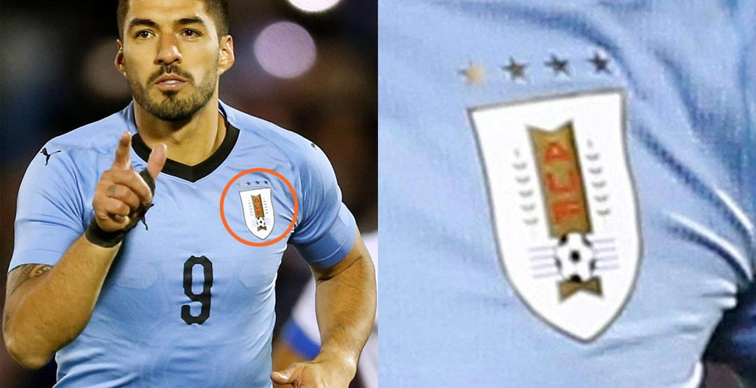ed06f84a8 The jersey of the Uruguayan national team for the FIFA World Cup features 4  stars above the badge