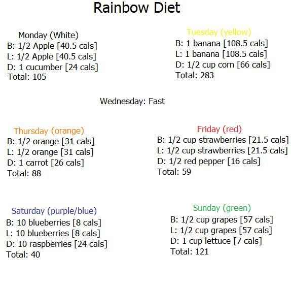 anorexia dieet schema