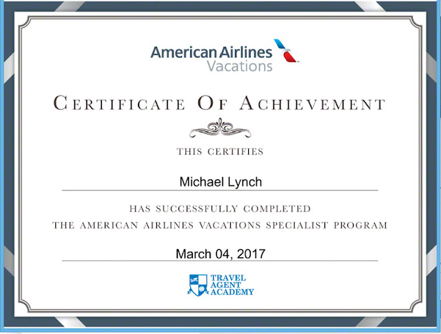 American Airlines Vacations Specialist, certificate