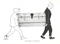 "A simple illustration of two men carrying a large trunk. The man on the left is wearing light clothes and a hat. The man on the right is wearing a dark suit. Both are sweating. The image is captioned ""Matriculation."""