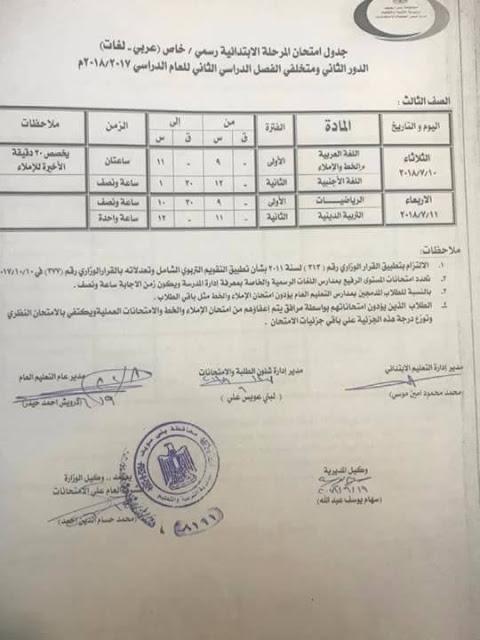 جداول امتحانات الملاحق ( الدور الثاني ) بصفوف النقل والشهادة 2018 أخر العام