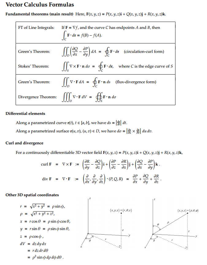 electrical  electronic engineering forum vector calculus fundamental theorems  formulae