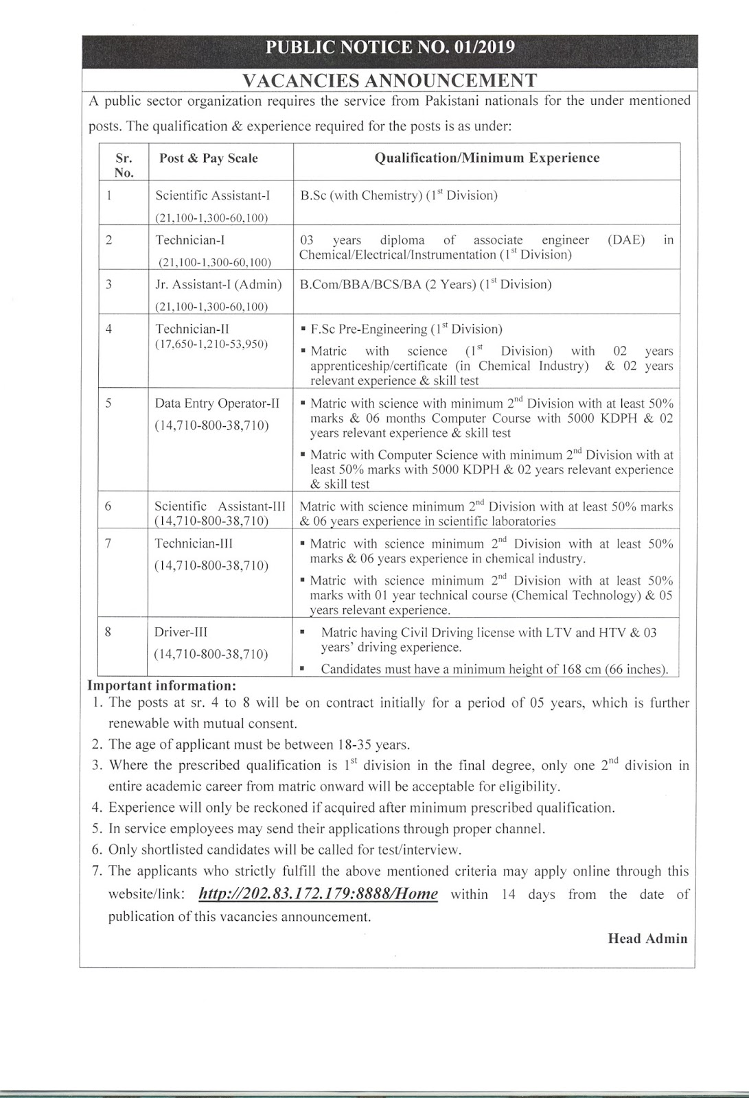 PAEC Jobs 2019 pak atmoic Scientific Assistant-I/III, Jr