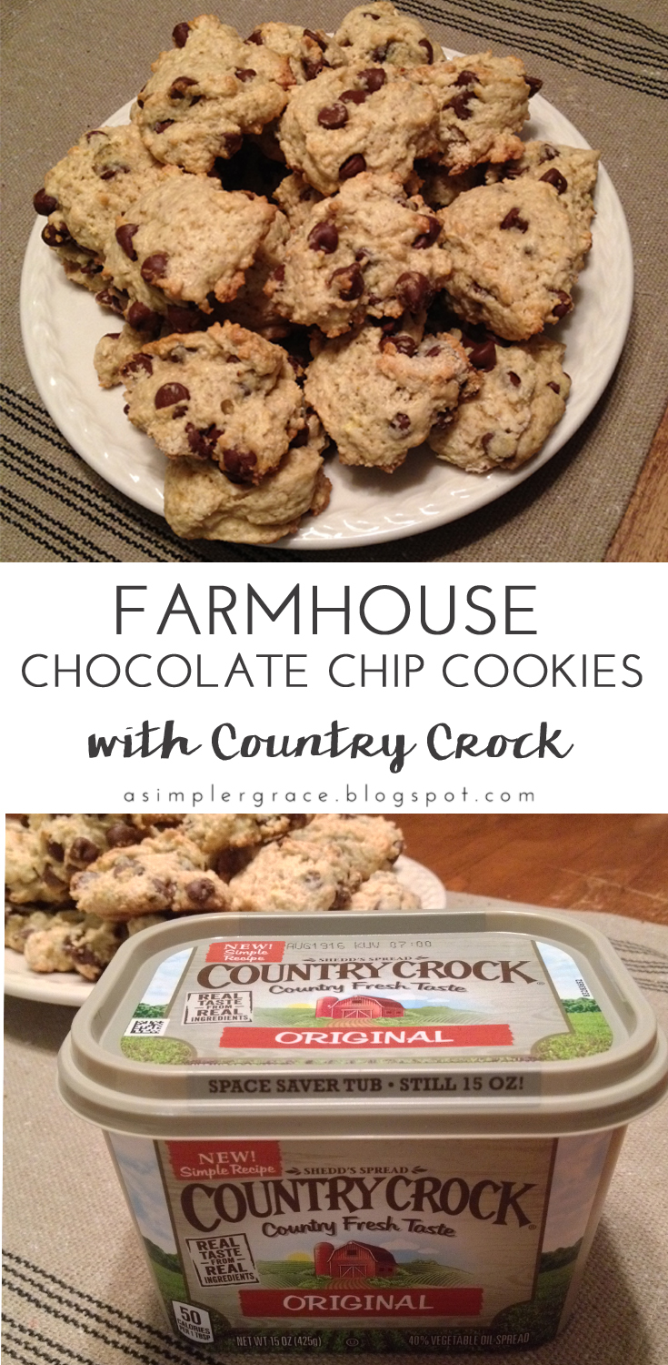 Farmhouse Chocolate Chip Cookies | With Country Crock - A Simpler Grace - My thoughts after using Country Crock spread in a chocolate chip cookie recipe.