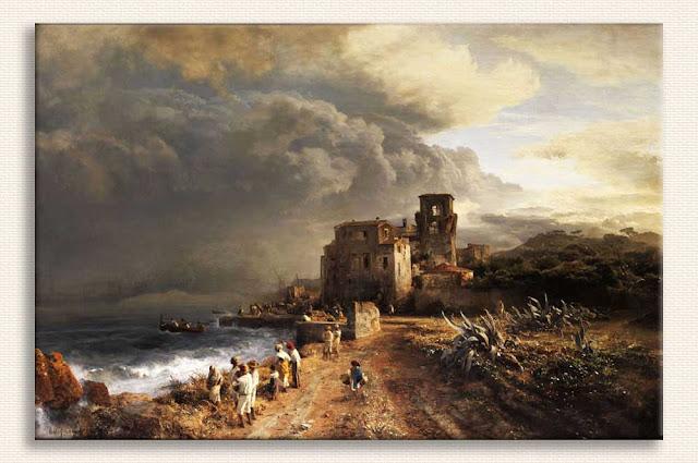 Oswald Achenbach Deniz Kenarında Bulutlar kanvas baskı tablo