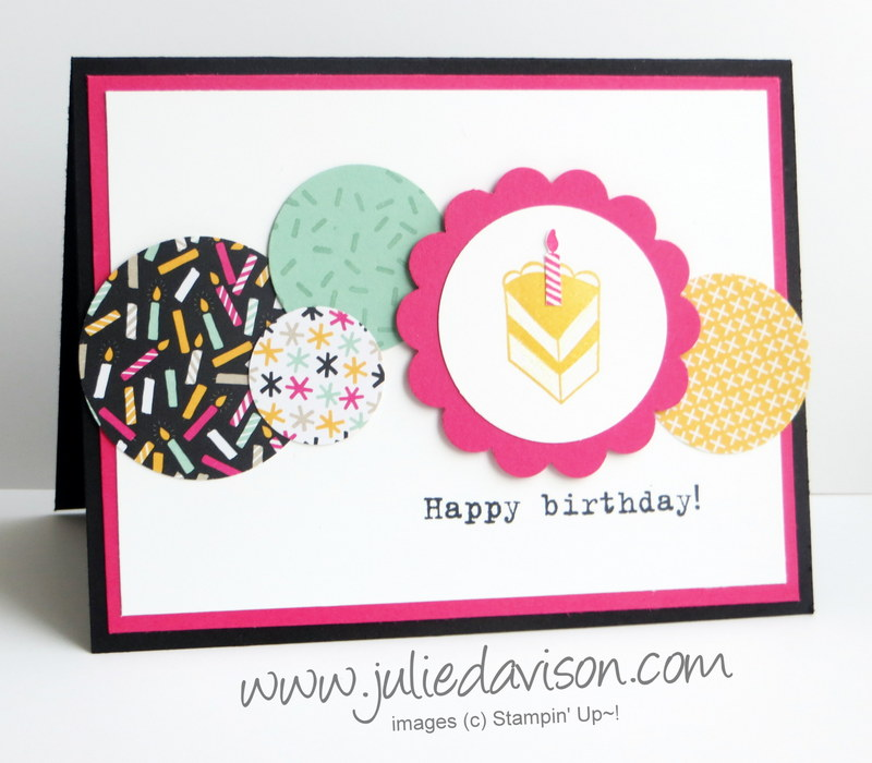 Julies stamping spot stampin up project ideas by julie davison stampin up party with cake circles birthday card for pocket sketch challenge psc07 bookmarktalkfo Choice Image