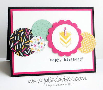 Stampin' Up! Party with Cake Circles Birthday Card for Pocket Sketch Challenge #PSC07 www.juliedavison.com #stampinup #birthday