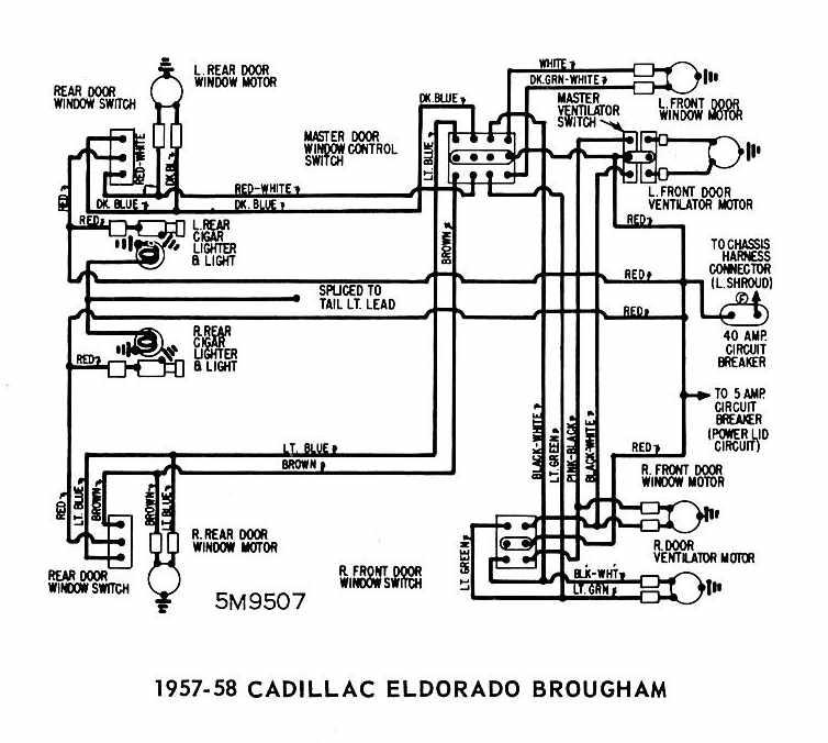Cadillac Eldorado Brougham 1957-1958 Windows Wiring