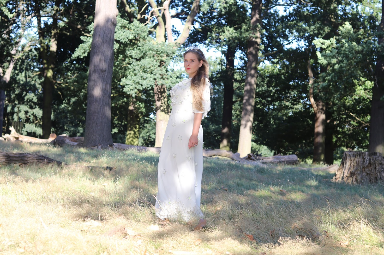 Katie Heath wearing Tiara and ASOS Wedding Dress in Richmond Park, London