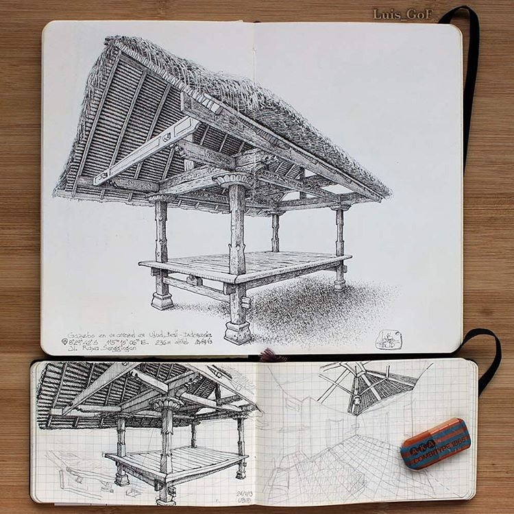 09-Gazebo-in-Paddy-Field-Luis-Gómez-Feliu-Elucubros-Urban-Sketches-and-Interior-Architectural-Drawings-www-designstack-co