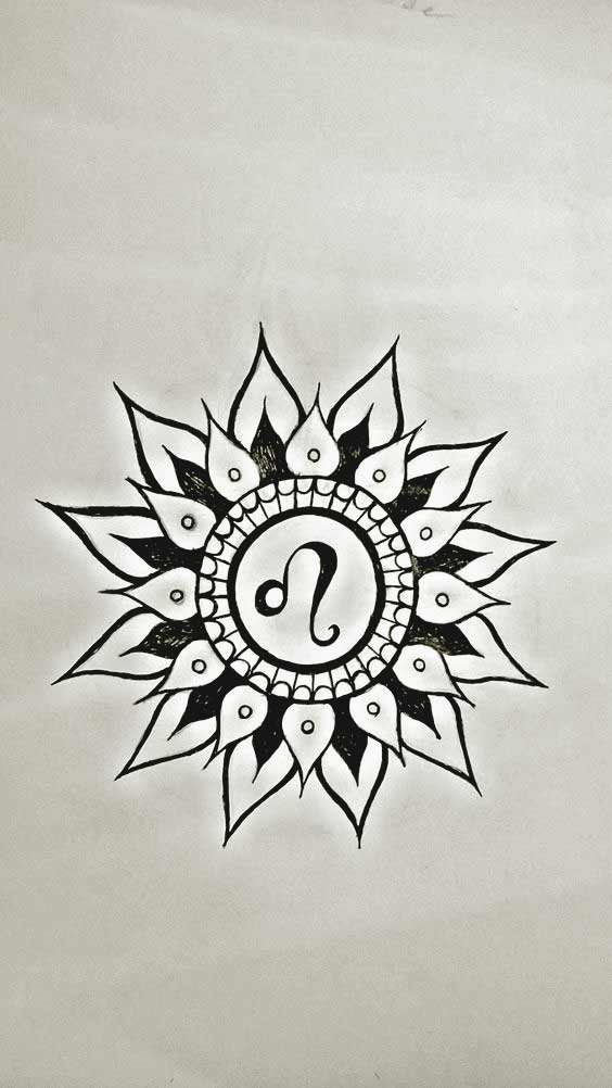 Leo zodiac sign in mandala flower tattoos