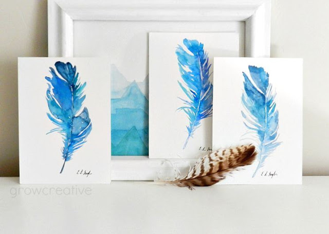 Original Watercolor Blue Bird Feathers: growcreativeblog