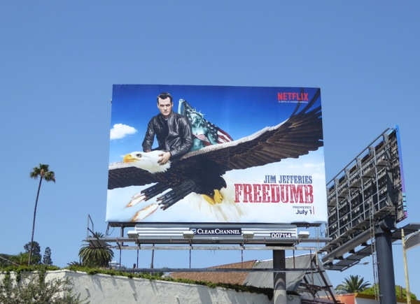 Freedumb Jim Jefferies comedy special billboard