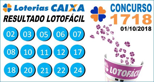 Resultado da Lotofácil concurso 1718 de 01/10/2018 (Imagem: Informe Notícias)