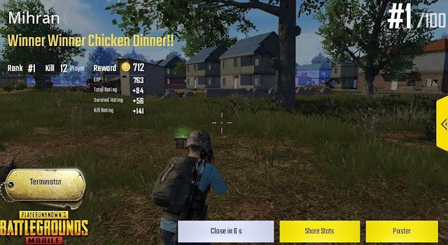 chicken dinner PUBG Mobile