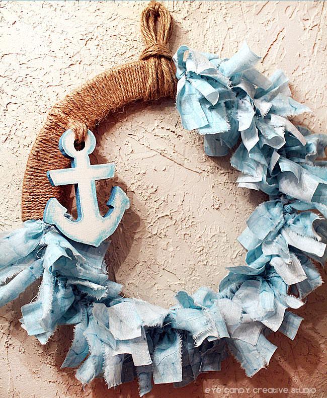 nautical wreath, how to make a rag wreath, nautical home decor