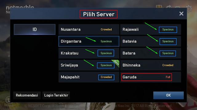 Pilih server yang terbaik, tidak full, Spacious