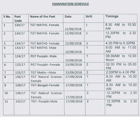 image : DSSSB TGT Exam Schedule 22-29 Sept. 2018 @ TeachMatters