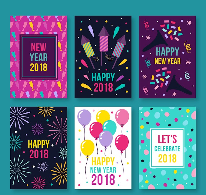 Colorful happy new year card free vector material