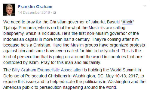 Akun resmi facebook Franklin Graham. (Foto : facebook Franklin Graham)