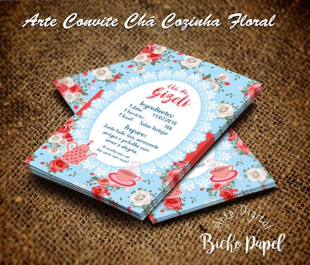 convite chá cozinha floral azul e vermelhor